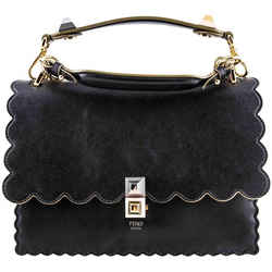 Fendi Kan I Leather Chain Shoulder Bag Black