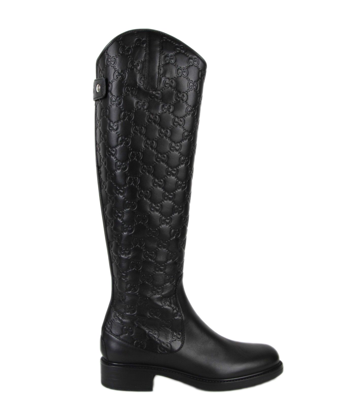 Black Guccissima Leather Riding Boots