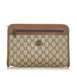 Brown Gucci GG Supreme Clutch Bag