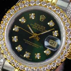 Rolex Lady Datejust 69173 26mm Green Diamond Dial Lugs Diamond Bezel