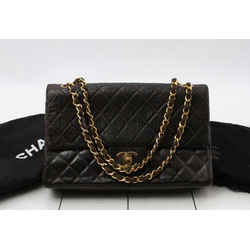 Chanel Rare Dark Brown Lambskin Classic Double Flap Chain Bag 23475