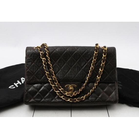 Chanel Rare Dark Brown Lambskin Classic Double Flap Chain Bag 23475
