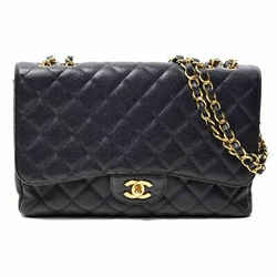 Auth Chanel Caviar Coco Mark W Chain Shoulder Matrasse Leather Bag
