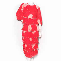 Ganni Red Floral Print Dress with Pleat Texture