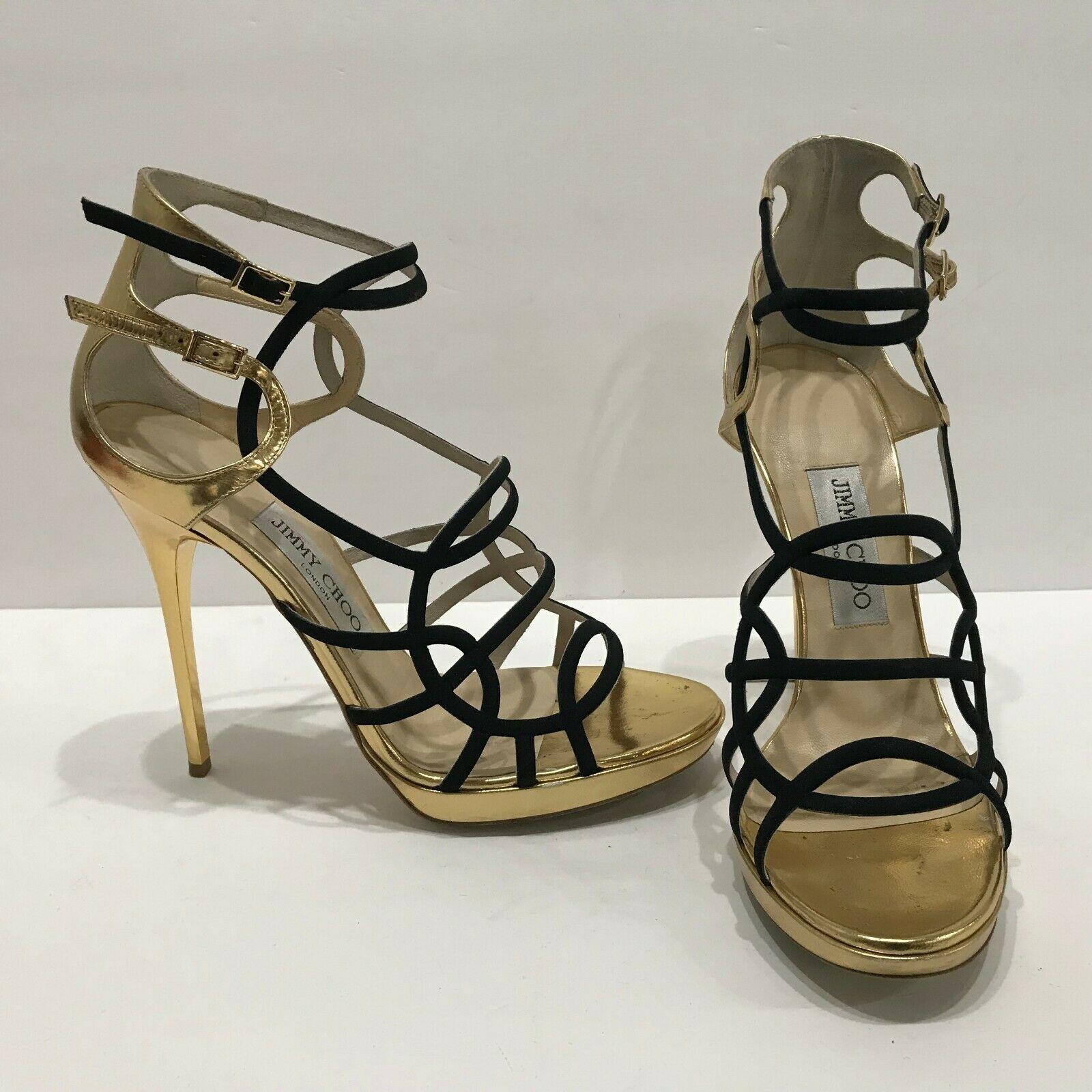 jimmy choo black and gold heels