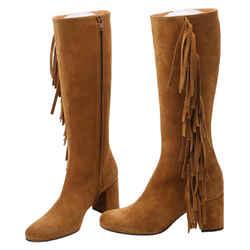 Saint Laurent Saint Laurent Fringed Boots Brown Size 4.5 Authenticity Guaranteed