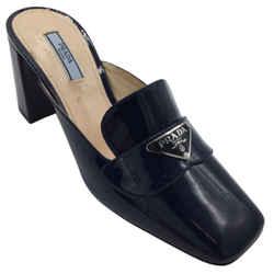 Prada Navy Blue Patent Leather Mules/Slides