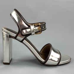 MARNI Size 6 Silver Metallic Leather Slingback Sandals