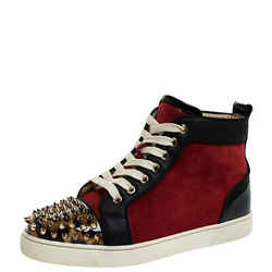 Christian Louboutin Black/Red Leather and Suede Louis Spike High Top Sneakers