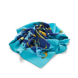 Blue Hermes Alphabet 3 Silk Scarf