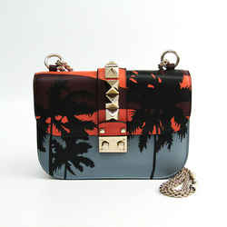 Valentino Garavani Lock Studs Palm Tree Leather Shoulder Bag Black,Bord BF342378