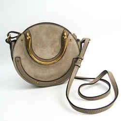 Chloe Pixie Round Leather,Suede Handbag,Shoulder Bag Gray Beige BF509439
