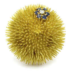 Tiffany & Co. Sapphire Diamond Vintage Sea Urchin Brooch in 18k Yellow Gold