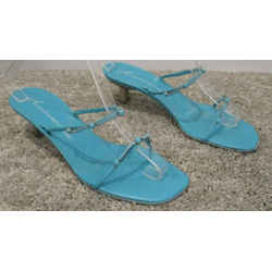 Giuseppe Zanotti Turquoise Squarish Toe Double Strap Sandals W/ Stones - 10