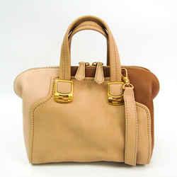 Fendi Chameleon Mini 8BL117 Women's Leather Shoulder Bag Beige,Brown BF521809