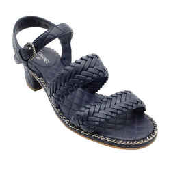 Chanel Navy Woven Leather with Chain Sandals