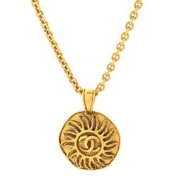 Vintage CC Sun Round Pendant Long Necklace Metal