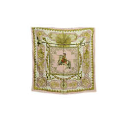 Authentic Hermes Vintage 100% Silk Scarf Ludovicus Magnus Perriere Pink Horse 90cm