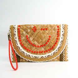 Anya Hindmarch Bascket Clutch Wink Women's Raffia Clutch Bag Beige,oran Bf504985