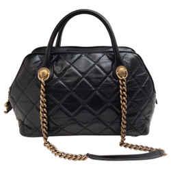Chanel Castle Rock Bowler Black Leather Satchel