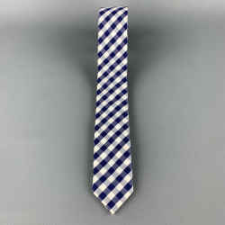 Comme Des Garcons Navy & White Gingham Plaid Cotton Skinny Tie
