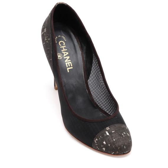 CHANEL Pump Cork Mesh Brown Suede Gold CC Leather Cap-Toe Heel Sz 41 2010 10C