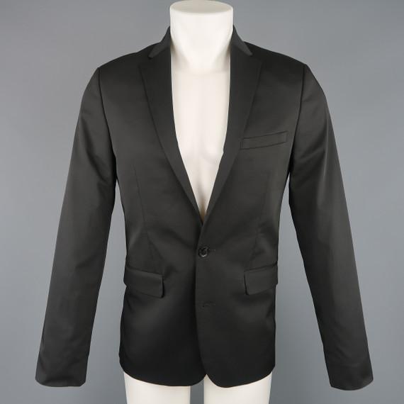 Calvin Klein 38 Regular Black Solid Twill Extreme Slim Fit Sport Coat