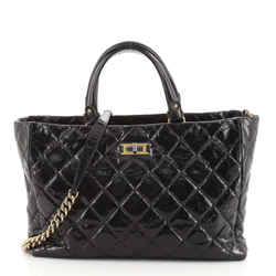 Rita Tote Quilted Glazed Crackled Calfskin Small