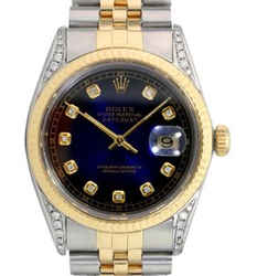 Rolex Mens Datejust Blue Vignette Diamond Dial Lugs Fluted Bezel 36mm