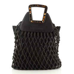 Woven Frame Tote Leather with Tortoise Wood
