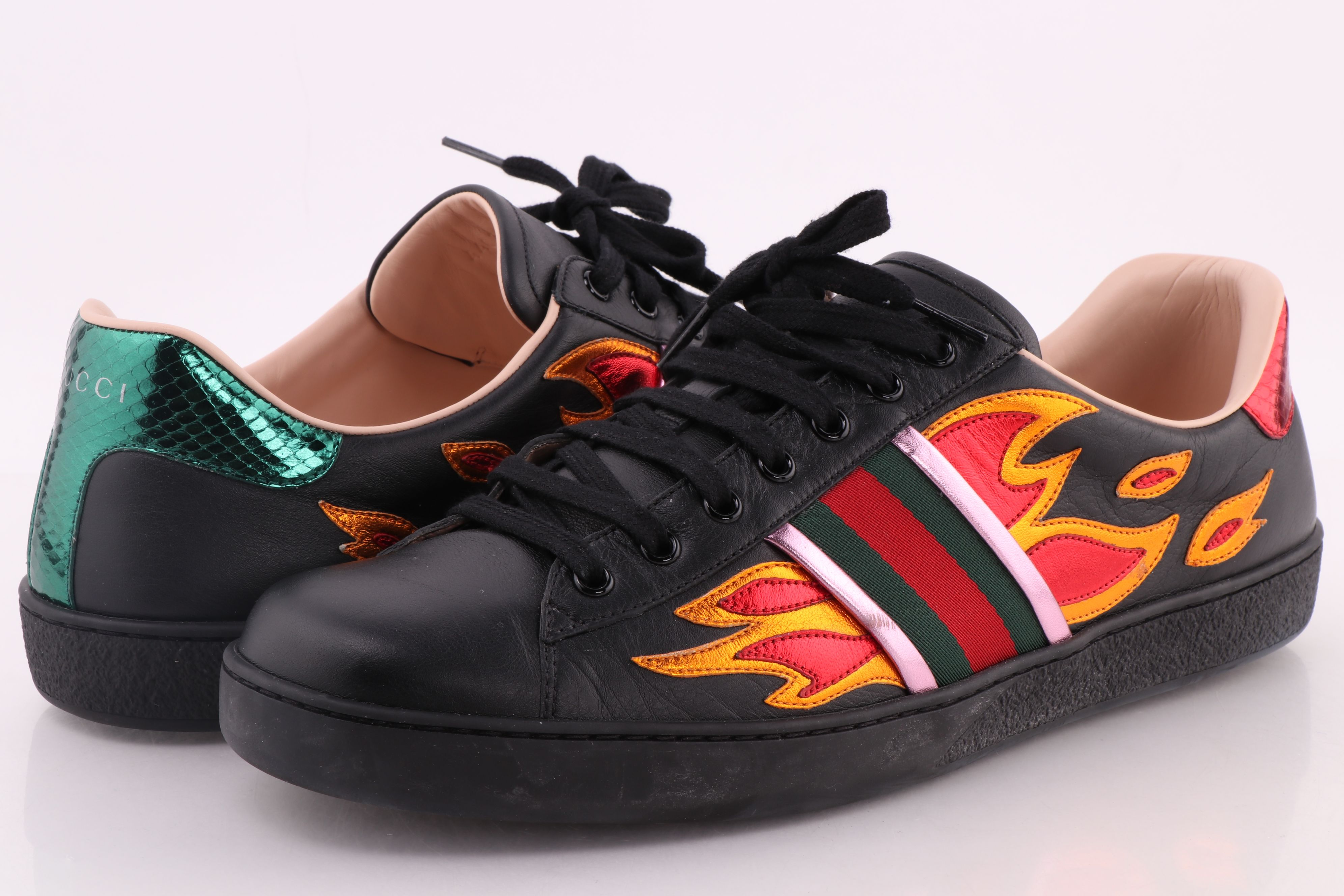 Gucci Black Ace Sneakers with Flames