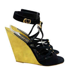 Yves Saint Laurent Ysl S/s 2011 Totem Gold Black Suede Heel Sandals 37 Black, Gold Wedges