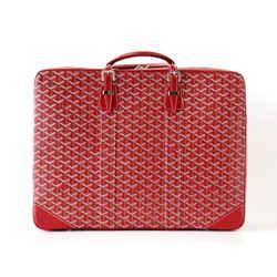 Goyard Soft Red Signature Monogram Majordome 50 Palladium Fittings Suitcase