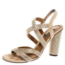 Dolce & Gabbana Beige Suede Crystal Embellished Slingback Sandals Size 38