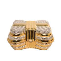 Judith Leiber Gold & Clear Swarovski Crystal Casket Minaudiere