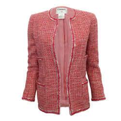 Chanel Red / White Tweed Open Front Blazer