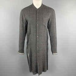 Damir Doma Size Xs Black & Grey Window Pane Wool / Silk Nehru Collar Long Sleeve Shirt