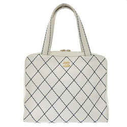 Auth Chanel Leather Wild Stitch Handbag White 6s Bag
