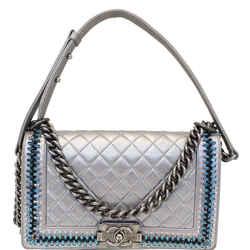 Chanel Boy Medium Lambskin Leather Embroidered Shoulder Bag Silver