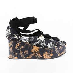 Erdem Wren Floral Jacquard Lace Up Platform Sandals SZ 40