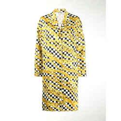$1590 Balenciaga Chain Pattern Shirt Dress Oversized Jacket Button Top Sz 6