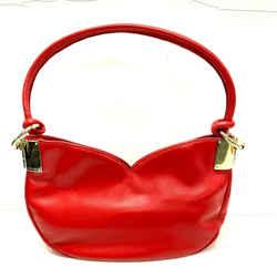 Genuine Escada Bag Charm Shoulder Red Leather Sweetheart Bag Hobo Handbag