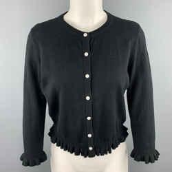 Karl Lagerfeld Size Xs Black Cotton Blend Lace Back Ruffle Cardigan