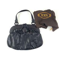Authentic Tod's Black Leather Magnetic Handle Satchel Bag Purse