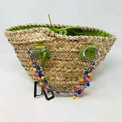 Dolce & Gabbana Tan Straw Bag Beaded Handle Green Trm Purse 2400-613-1320