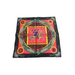 Authentic Hermes 100% Silk Scarf Feux d'Artifice Black Red Duchene Vintage 42cm Carre