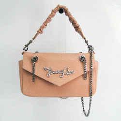 Jimmy Choo MOLLY Women's Leather Handbag,Shoulder Bag Beige Pink BF532069
