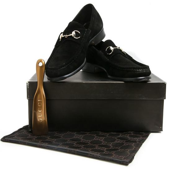 Gucci Black Suede Silver Horsebit Loafers
