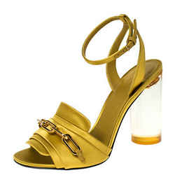 Burberry Yellow Satin Coleford Ankle Strap Sandals Size 36.5
