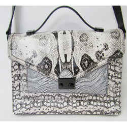 New Loeffler Randall Rider Satchel Snake Python Embossed Leather Print Handbag